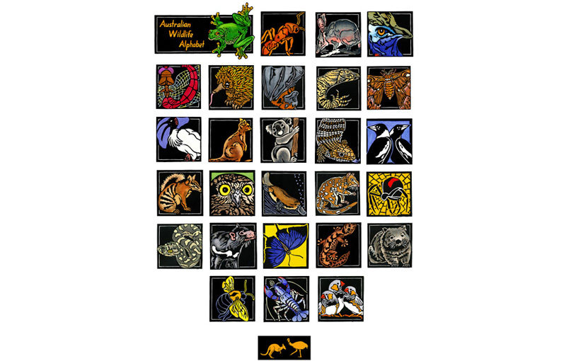 Australian Wildlife Alphabet Limited Edition Linocuts