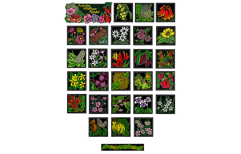Australia Wildflower Alphabet Limited Edition Linocuts