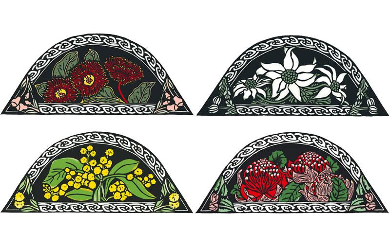 Australian Celtic Knots – Gum Blossom, Flannel Flower, Wattle & Waratah