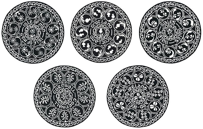 Celtic Knotwork Circles (B&W) – Isle of Man, Scotland, Wales, Cornwall & Ireland