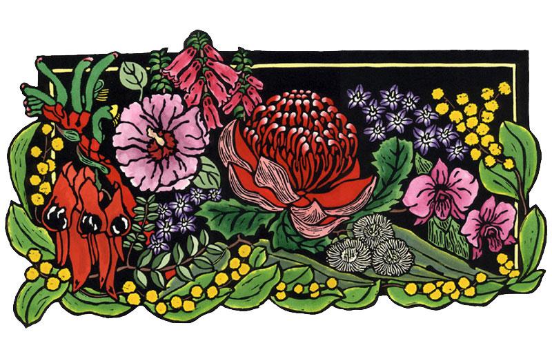 Emblems-ARCHIVE-LINOCUT-AUSTRALIAN-LYNETTE-WEIR