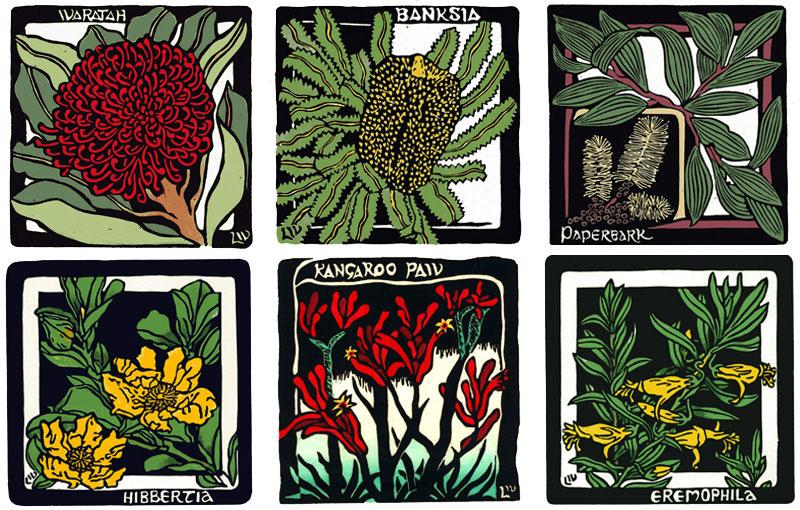 Squares – Waratah, Banksia, Paperbark, Hibbertia, Kangaroo Paw, Eremophila