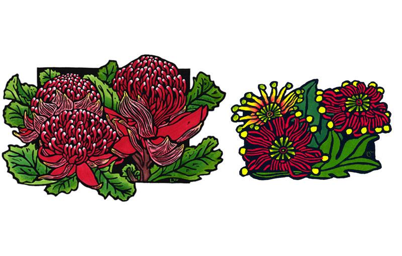 Trio-of-Waratahs-&-Firewheel-ARCHIVE-LINOCUT-AUSTRALIAN-LYNETTE-WEIR